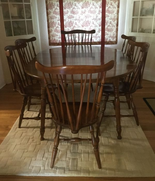 early american colonial dining table with 8 chairs for sale in