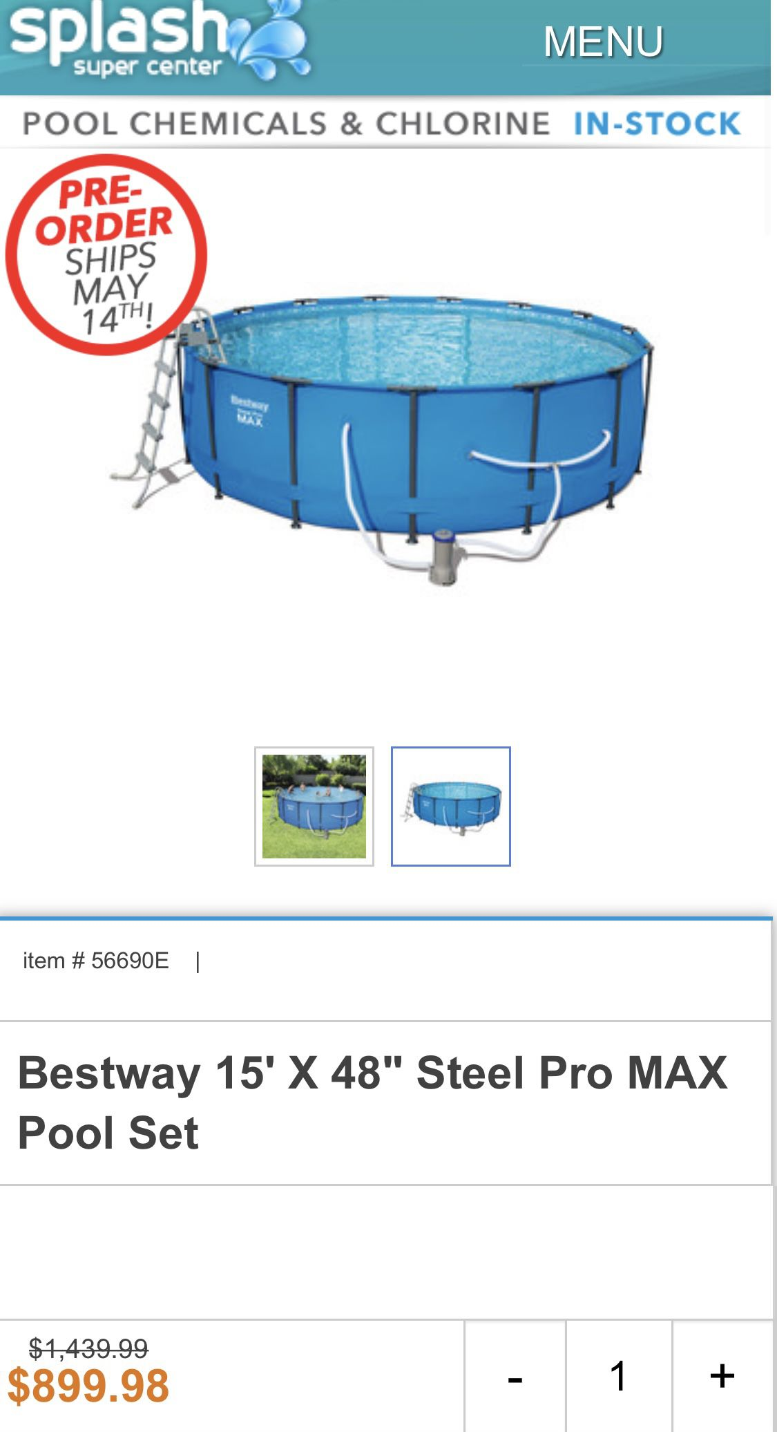 "Bestway Steel Pro Max Swimming Pool w 1000GPH Filter, 15x48"" Round"