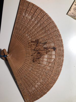 Chinese wood fan for Sale in Portland, OR