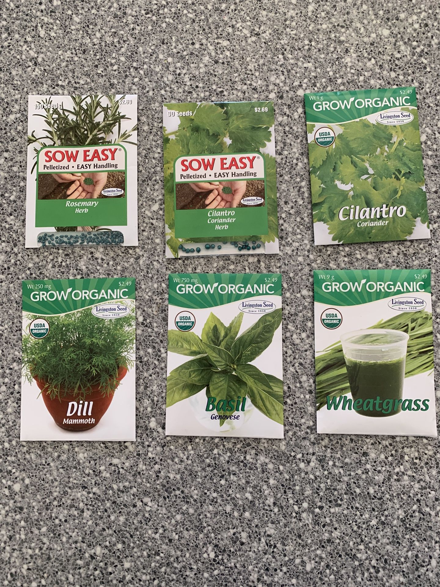Packets of seeds Flowers, Fruits, Vegetables, Herbs (price is per packet)