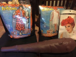Fred Flintstone and Wilma Flintstone costume everything you need to be the head of the Halloween party $35 cash porch pick up for Sale in Yardley, PA