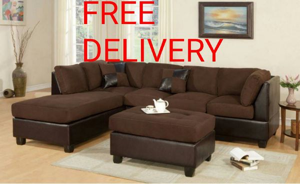 FREE DELIVERY New Large Black Microfiber Sectional Sofa ...