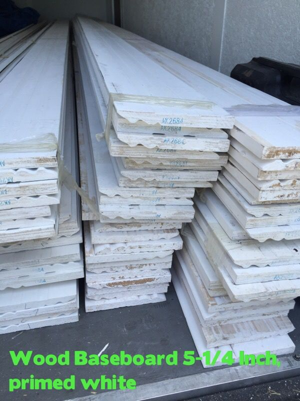 5-1/4 inch Baseboards in Wood , primed in white for Sale in Miami, FL -  OfferUp