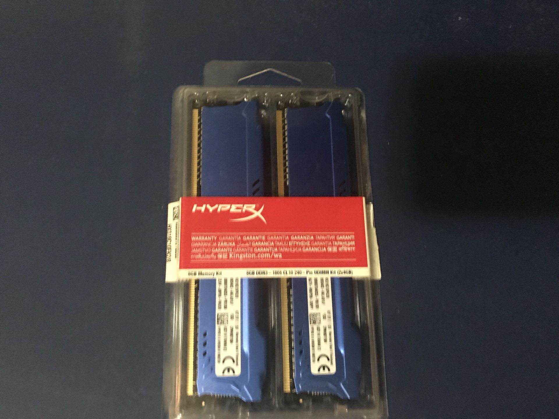 Kingston HyperX Fury 2x4 GB DDR3 1866Mhz PC memory