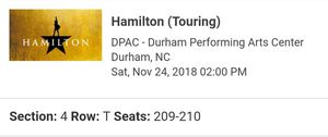 Hamilton tickets - Orchestra seating for Sale in Apex, NC