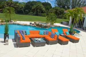 NEW 10 piece Outdoor Patio Furniture Sofa Set In Gray Wicker and Cushions Aluminum Frame for Sale in Miami, FL