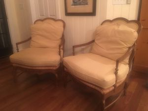 Pair French chairs cushions with rush base for Sale in Eldersburg, MD