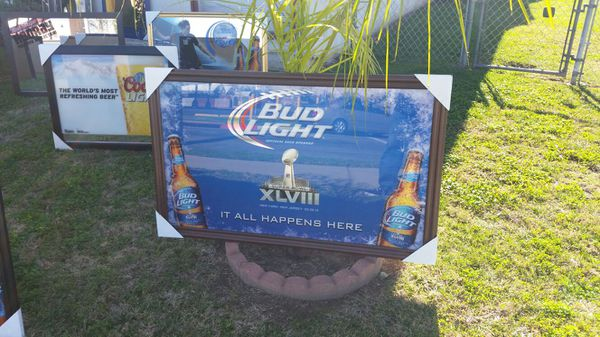 Bud Light Super Bowl Football Nfl Trophy Mirror Seahawks Beer Sign