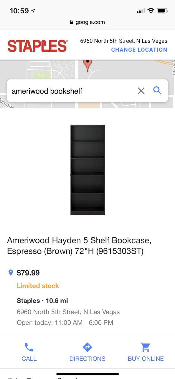 Ameriwood Black Bookshelf 30x72x12 For Sale In Las Vegas NV