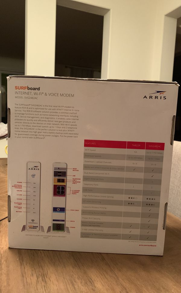 Ditch that Xfinity modem and save $10/month with this one  Arris Surfboard  Internet, Wifi & Voice Modem - Model SVG2482AC for Sale in South San