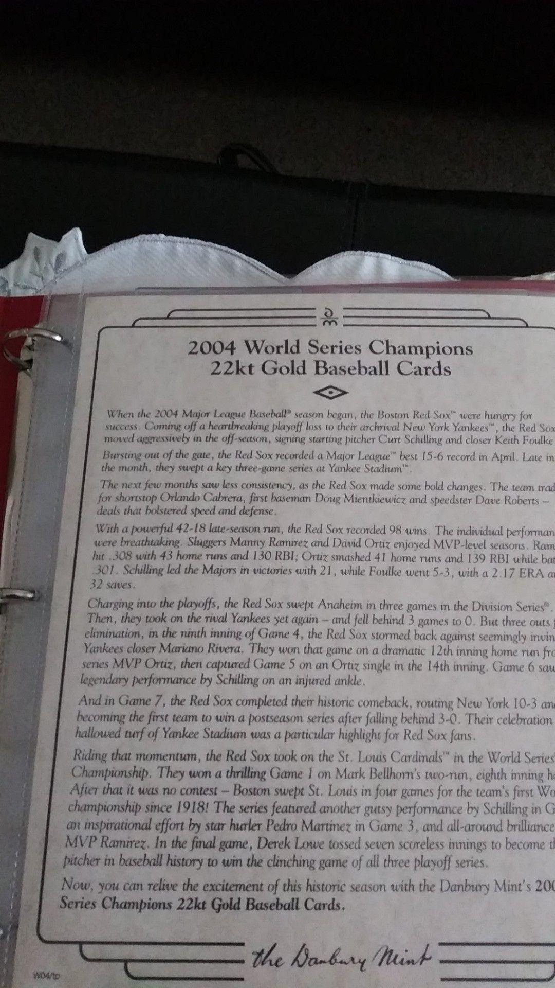 2004 world series 22kt gold Baseball Cards