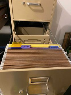 Putty / Beige Almond Metal Vertical 4-Drawer Letter-Size Locking File Cabinet W/ Key and Folders Thumbnail