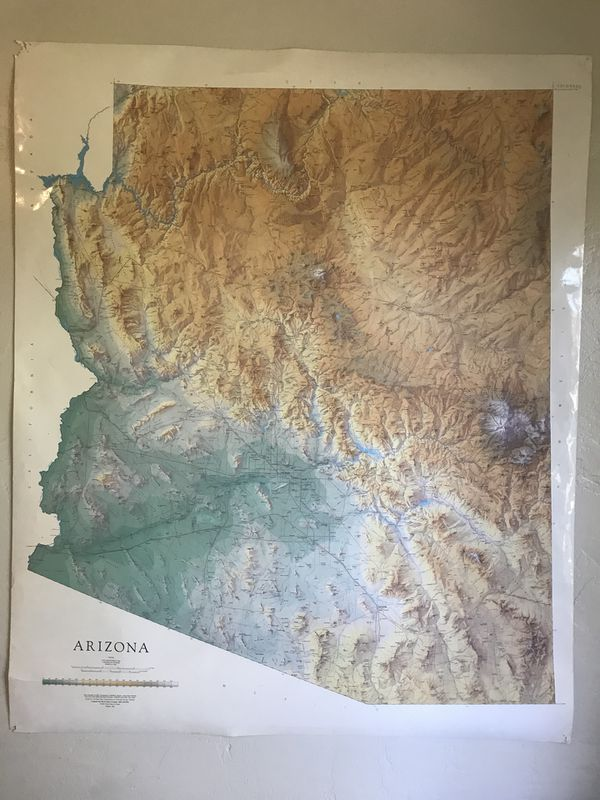 Az Topographic Map.Large Arizona Topographic Map For Sale In Phoenix Az Offerup
