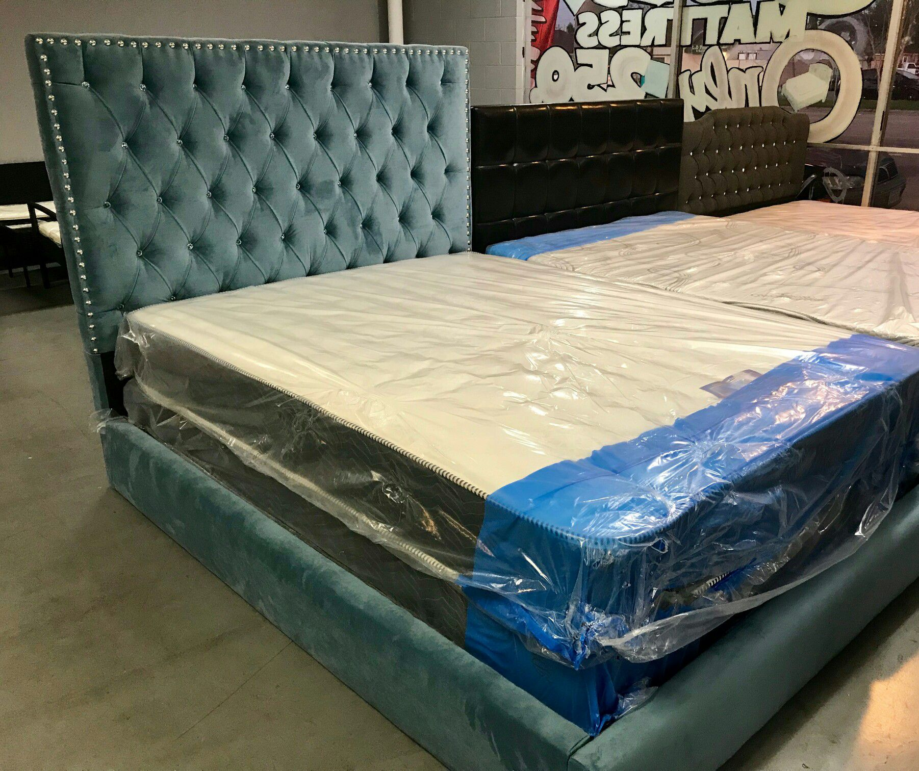 Custom queen bed frame with mattress