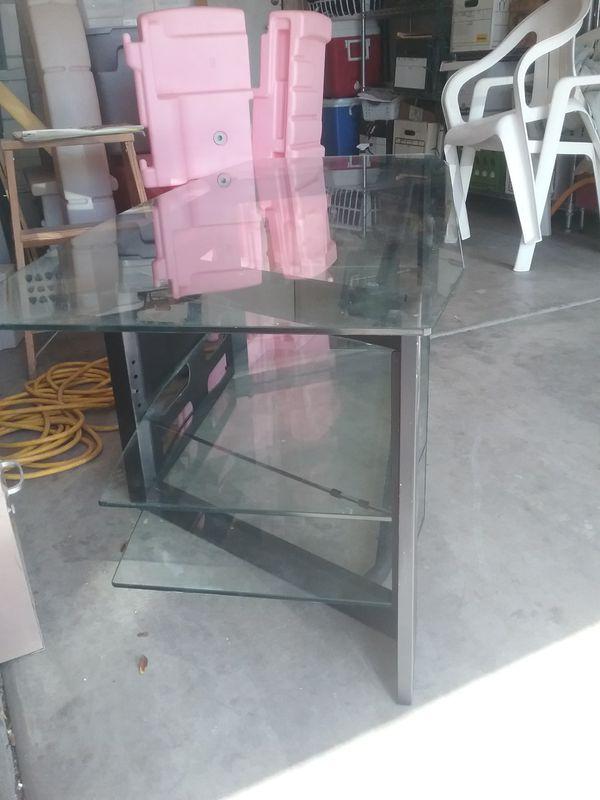 nice glass entertainment center table cabinet tv glass shelves for sale in gilbert az offerup - Glass Entertainment Center