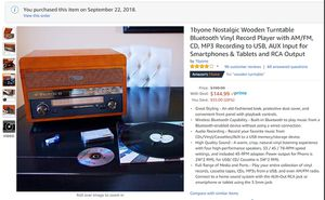 1byone Nostalgic Wooden Turntable Bluetooth Vinyl Record Player with AMFM, CD, MP3 Recording to USB, AUX Input for Smartphones & Tablets and RCA Out