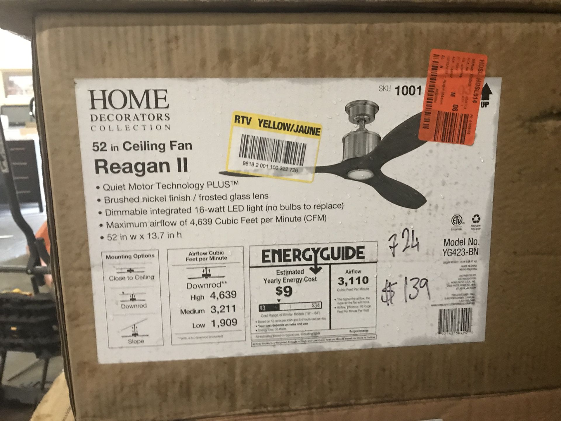 Home Decorators Collection Reagan 52 in. LED Indoor Brushed Nickel Ceiling Fan with Light Kit and Remote Control