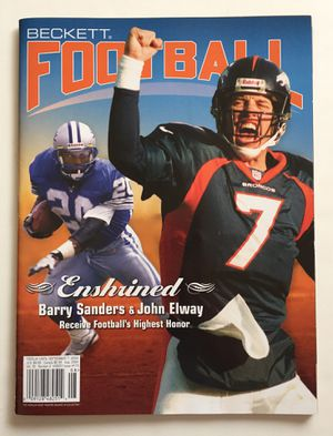 Photo John Elway & Barry Sanders Beckett Football Monthly **BRAND NEW**