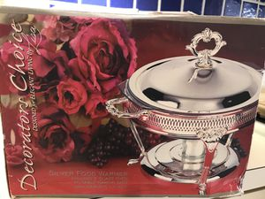 Silver food warmer includes 2 quart oven to table dish & warming candle for Sale in Chevy Chase, MD