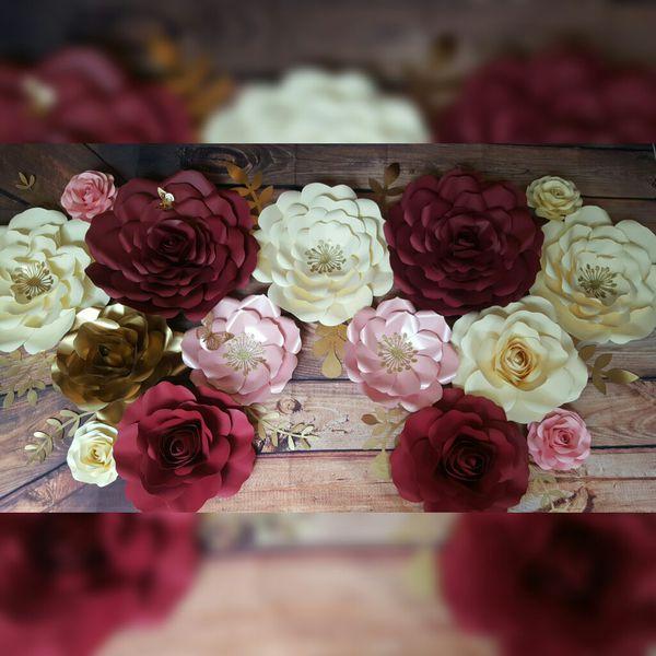 Paper Flowers Backdrop Flores De Papel Babyshower Fiesta Quinceaera