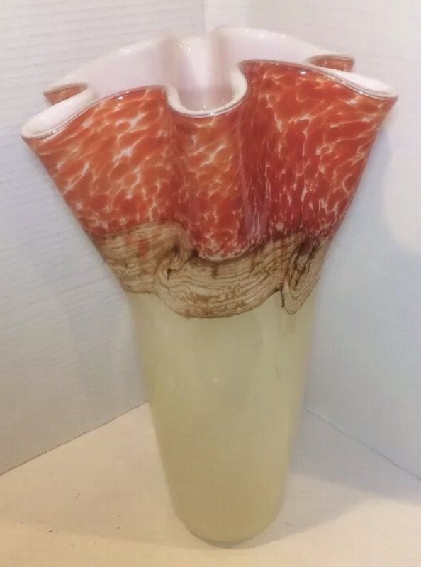 Large Decorative Glass Vase 135 Inches Tall Hqt Hand Made Red