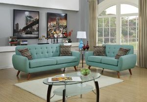 Laguna blue polyfiber sofa and loveseat set couches for Sale in Santa Monica, CA