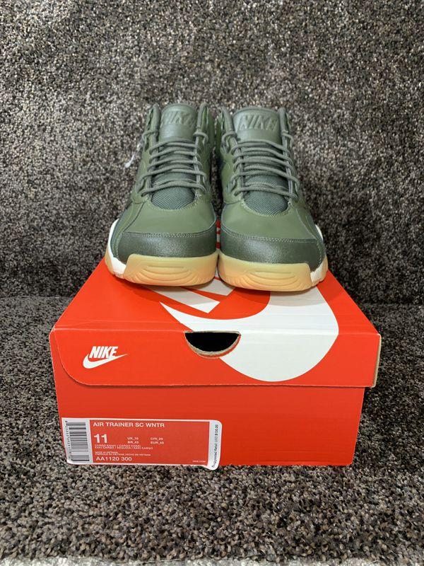 8df7a7b936 New in Box Men s Nike Air Trainer SC High Winter Water Resistant Cargo Khaki  Green Gum Bottom Shoes AA1120 300 Size - 11 men Color - Khaki Green Gu