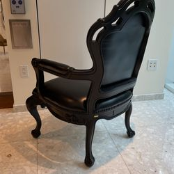 Set of 4  Chairs  In Black Wood  & Leather  Thumbnail