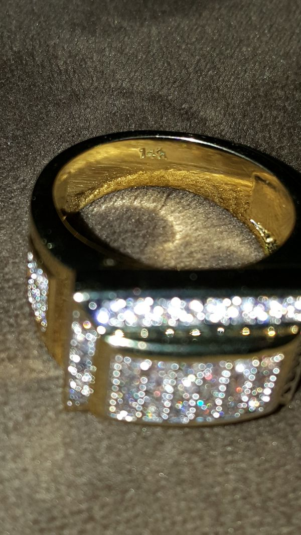 Yellow gold plated and diamond men's ring 14k stamp for Sale in San Jose,  CA - OfferUp