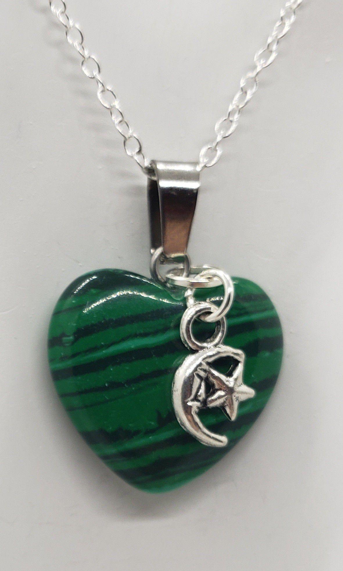 Malachite Moon/Star Heart Necklace