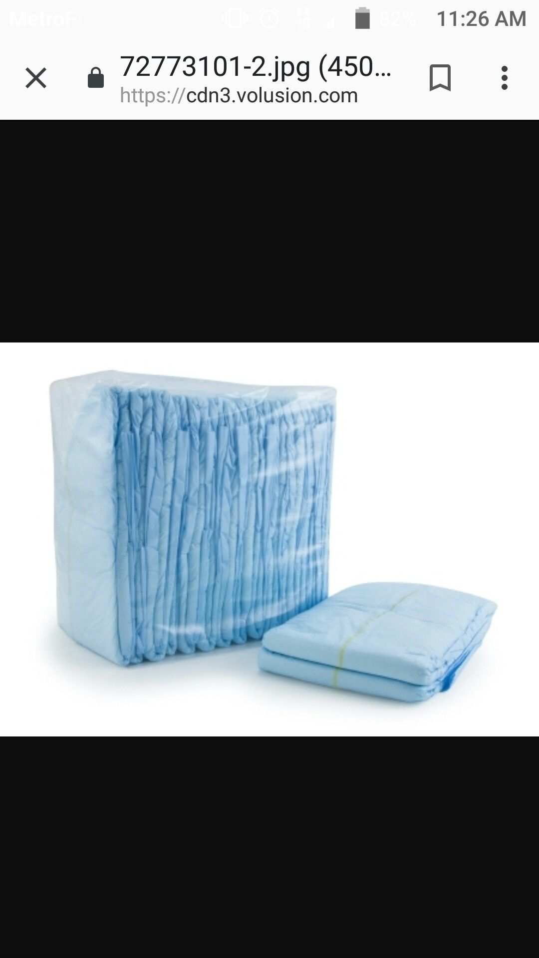 Adult diapers and blue pads