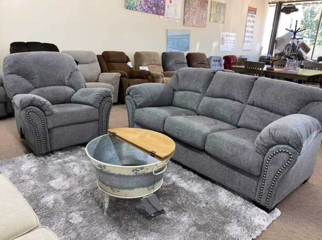 Allmaxx Pewter Living Room Set Sofa, loveseat & couch & sectional) ask price