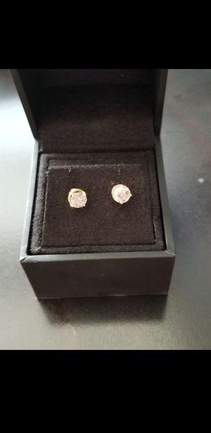 1 carat yellow gold diamond earrings for Sale in Washington, DC