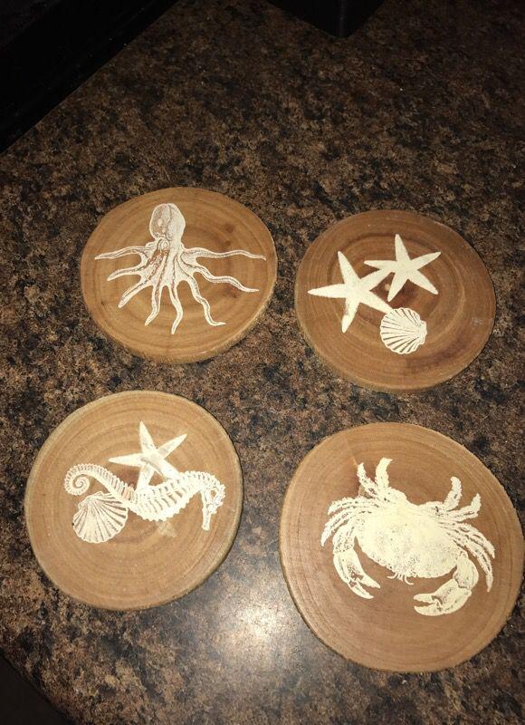 Wood sea themed coasters