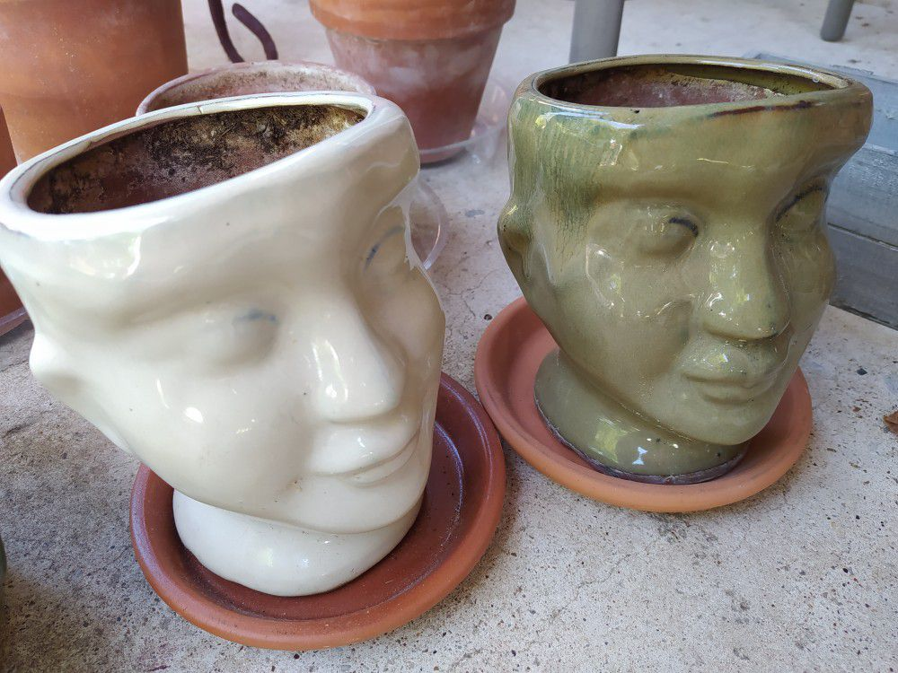 """2 Head Faces Pots. Etsy Picture As Reference. 6,""""X5"""". Price For Both With Saucers"""