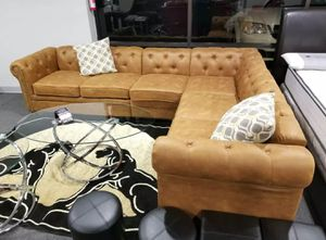 Brand New Camel Color Breathable Leatherette Sectional Sofa Couch for Sale in Silver Spring, MD