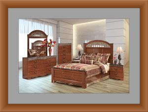 11pc Ashley cherry bedroom set with mattress for Sale in Fort Washington, MD