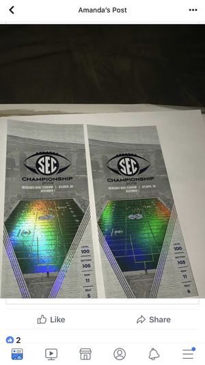 Two SEC Championship Tickets 300.00 a piece for Sale in Atlanta, GA