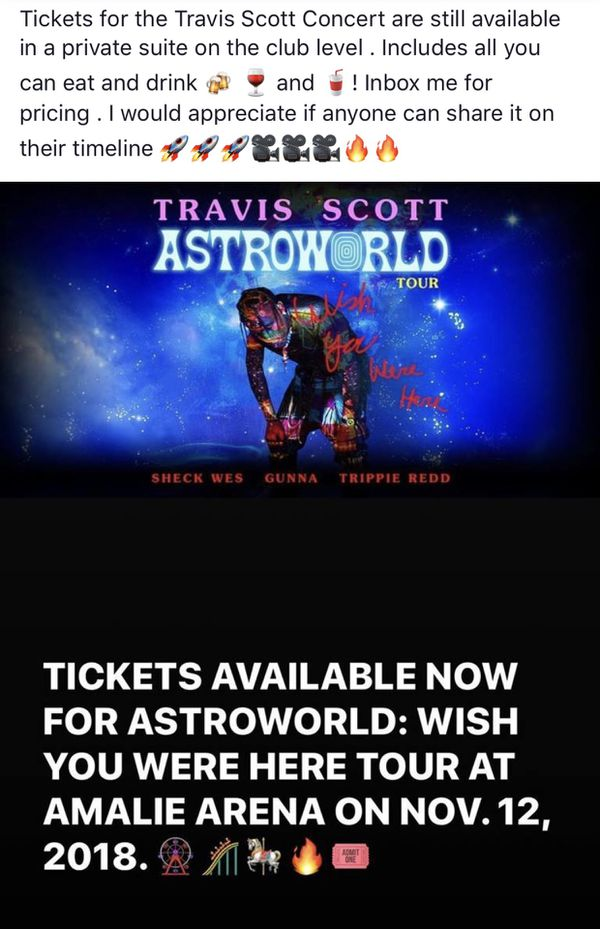 ca536a23a37c Travis Scott tickets in an all inclusive suite for Sale in Tampa, FL -  OfferUp
