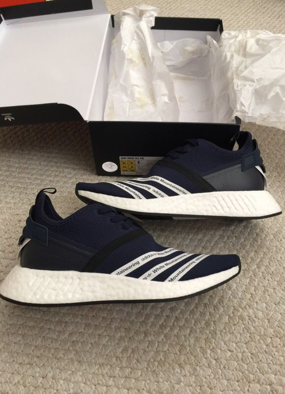 Adidas white mountaineering nmd r2 pk navy size 8.5 for Sale in Anaheim, CA OfferUp