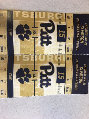 2 Pitt basketball tickets vs Clemson Saturday Jan 28 for Sale in Pittsburgh, PA