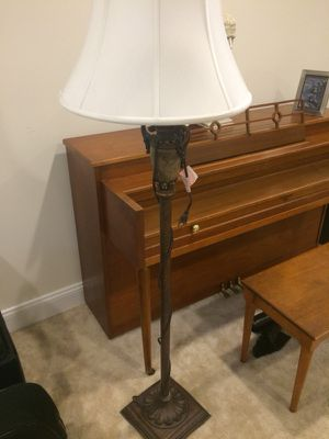 Floor lamp. About 5 feet high. Brushed dark bronze base and ivory silk shade for Sale in Herndon, VA