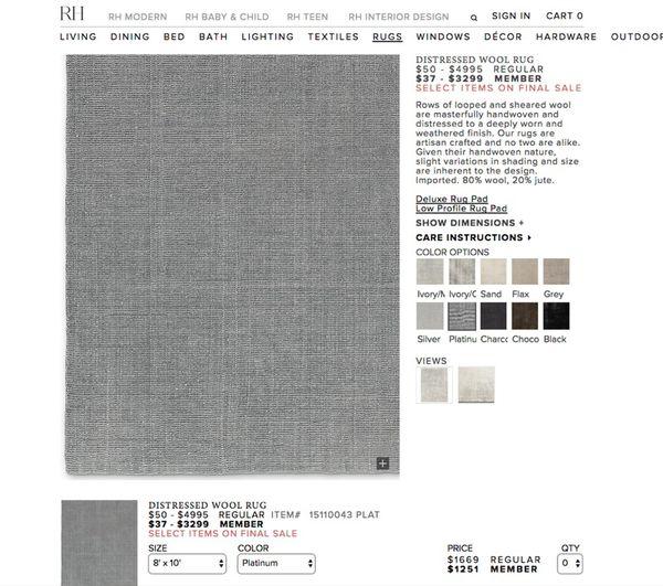Restoration Hardware 8x10 Distressed Wool Rug Platinum Rug Pad