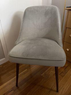 West Elm- Mid-Century Upholstered Dining Chair, Performance Velvet, Dove Gray, Oil Rubbed Bronze Legs Thumbnail