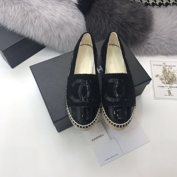 222e0ab2d2f Women chanel espadrilles cc logo black leather toe for Sale in ...