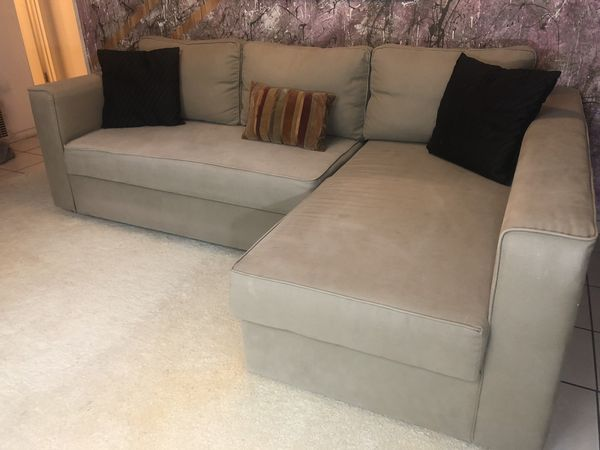 Luxury 3 Seater Beige L Sectional Couchsofa Bed For Sale For