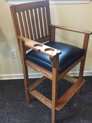 Solid Oak & Leather Pool table chair for Sale in Frederick, MD
