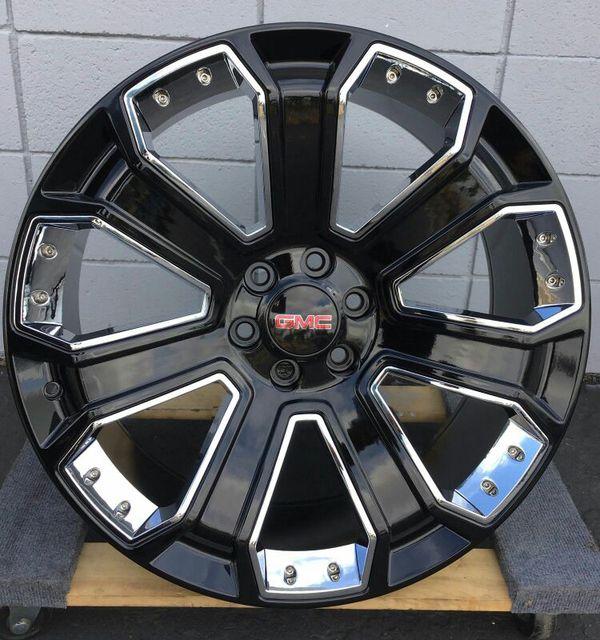 24 Gmc Yukon Denali Chevy Black Wheels Rims Tires Silverado Sierra