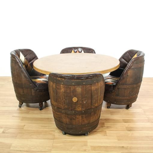 Mid Century Brown Vinyl Whiskey Barrel Dining Set For Sale