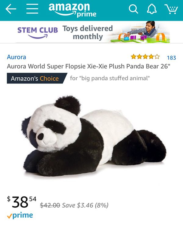 Aurora World Super Flopsie Xie Xie Plush Panda Bear 26 For Sale In
